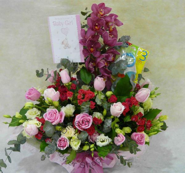 Bloemart new born baby gifts baby gift flower arrangement click to enlarge negle Choice Image